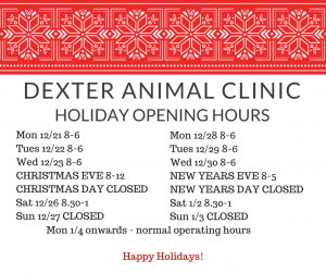 Holiday Hours until Jan 4